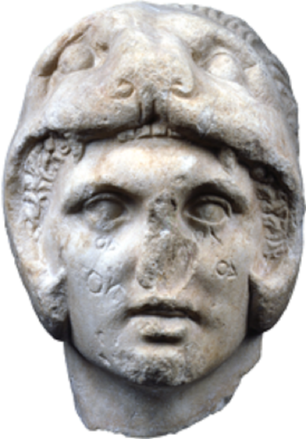 Marble head of Alexander the Great, found in the Kerameikos, Athens c. 300 BC. Height 0,28 m.