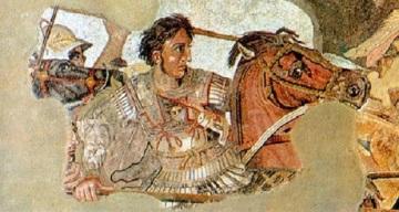 Yksityiskohta Pompeiista löydetystä ns. Aleksanteri mosaiikista.